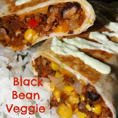 Black Bean Veggie Burritos with Cilantro Rice