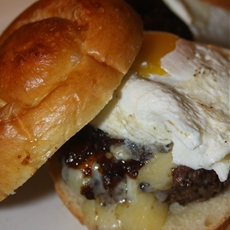Gourmet Steak Burger with Bacon Jam and Fried Egg