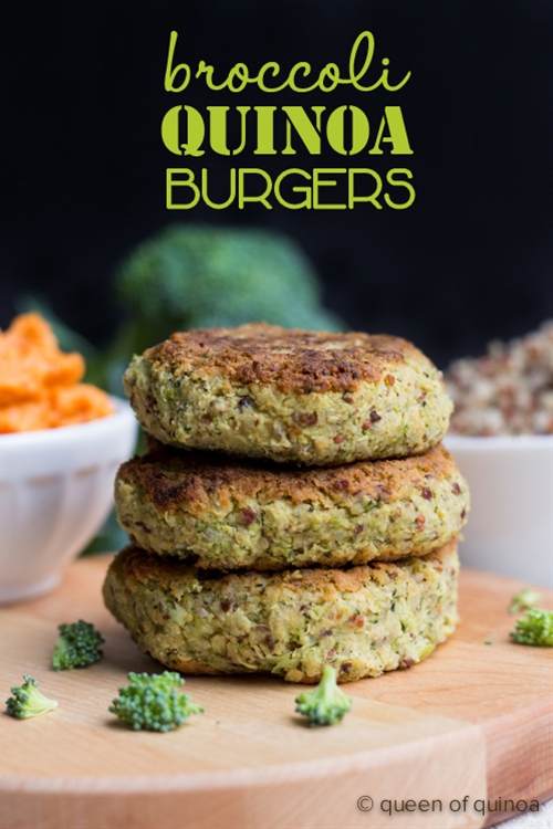 Cheezy Broccoli Quinoa Burgers