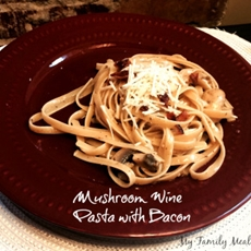 Wine Mushroom Pasta with Bacon