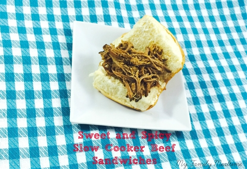 Sweet and Spicy Slow Cooker Shredded Beef Sandwich