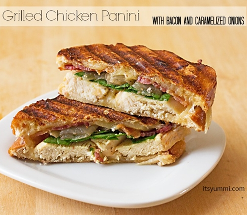 Easy Recipe ~ Grilled Chicken Panini with Bacon and Onions