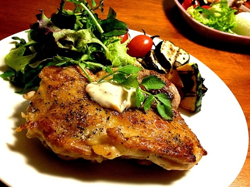 Chicken saute and grilled vegetables