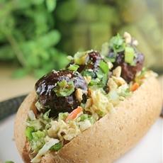 Thai Chili Meatball Sliders with Peanut Slaw