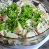 Spring potato salad with arugula, peas, and dill