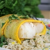 Golden Zucchini Wrapped Cod over Garlic Cilantro Rice