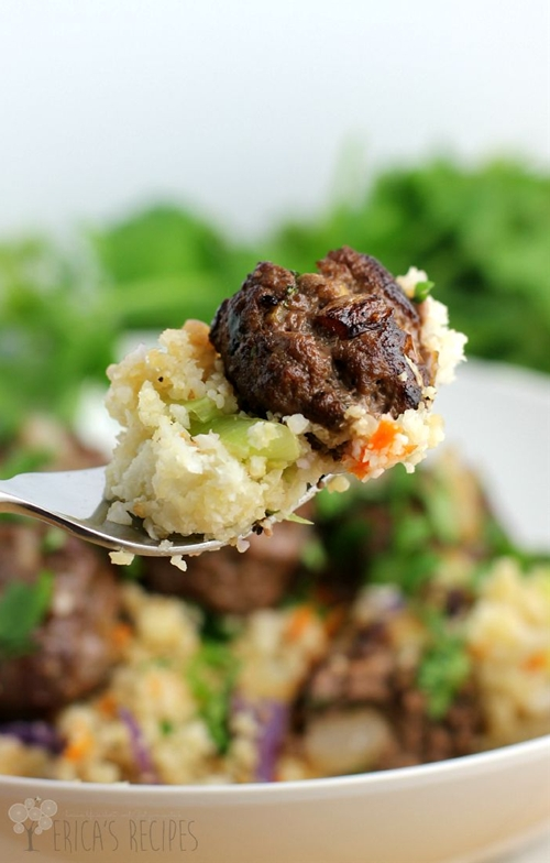 "Asian Meatballs over Cauliflower Fried ""Rice"""