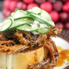 Hoisin Honey Pulled Pork with Pickled Cucumber Salad