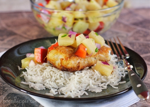 Coconut cod with pineapple salsa