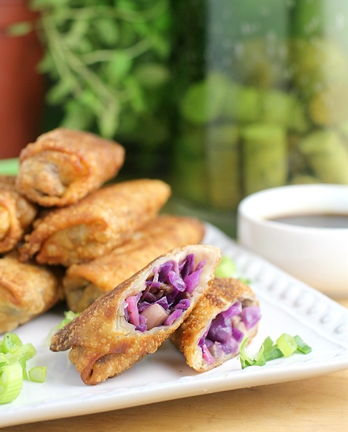 Red Cabbage and Raddish Spring Rolls