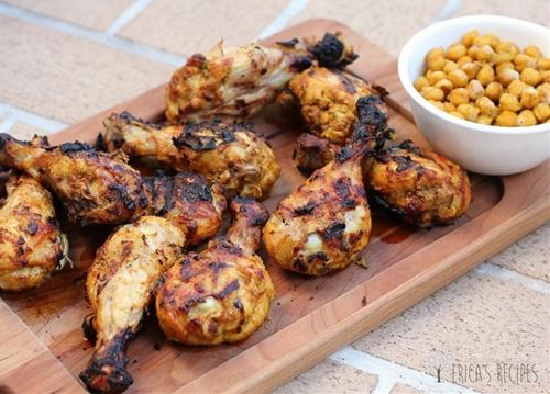 Grilled Tandoori Chicken with Spiced Chickpeas