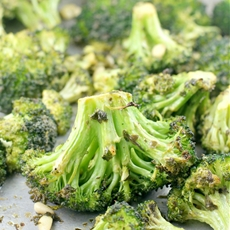 Oven Roasted Broccoli in Dijon Pesto Vinaigrette