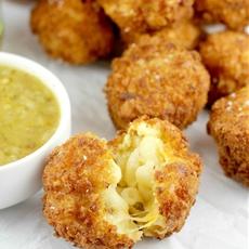 Fried Salsa Verde Macaroni and Cheese Balls