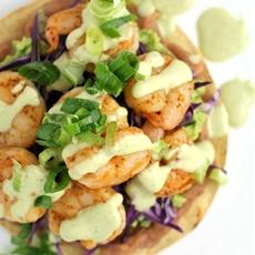 Shrimp Chalupas with Roast Poblano Sauce