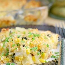 Chipotle Corn, Poblano, and Potato Gratin