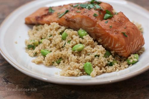 Honey-Soy Salmon over Edamame Couscous