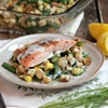 Lemon-Dill Salmon over Summer Vegetable Stuffing