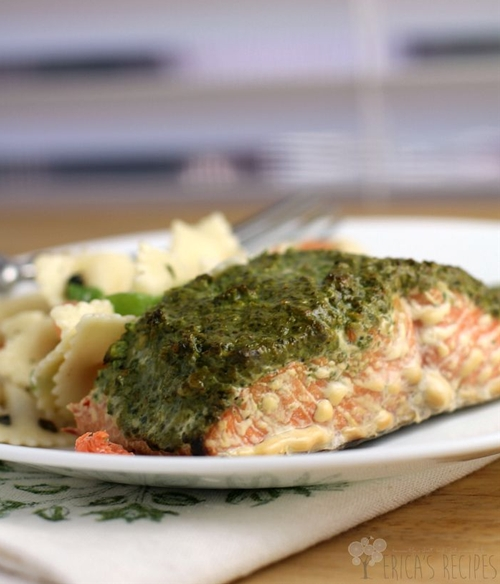 Smoked Sockeye Salmon with Arugula, Spinach, and Walnut Pesto