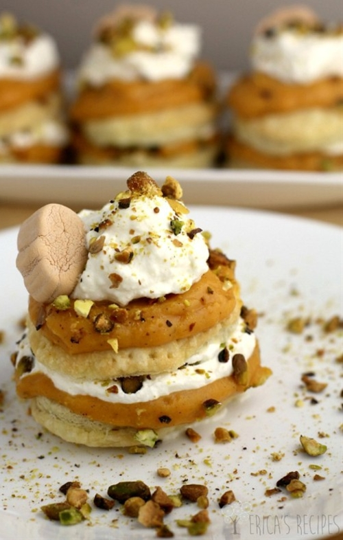 Pumpkin Pistachio Napoleon with White Chocolate Ganache