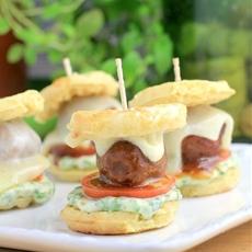 Barbecue Meatball Waffle Sliders