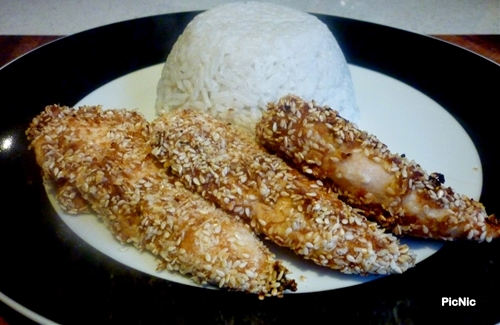Sesame Chicken Tenders and Coconut Rice