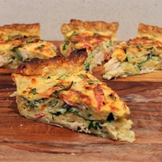 Chicken, Bacon, and Spinach Quiche