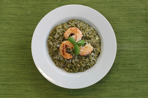Easy Shrimp risotto with Spinach Pesto