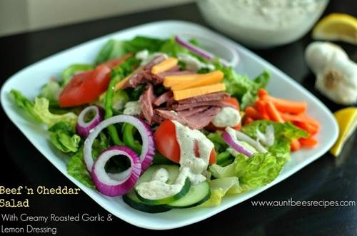 Beef n Cheddar Salad with Creamy Roasted Garlic & Lemon Dressing