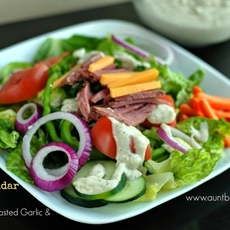 Beef n Cheddar Salad with Creamy Roasted Garlic & Lemon Dressing