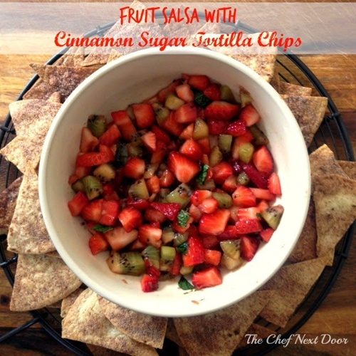 Fruit Salsa with Cinnamon Sugar Tortilla Chips
