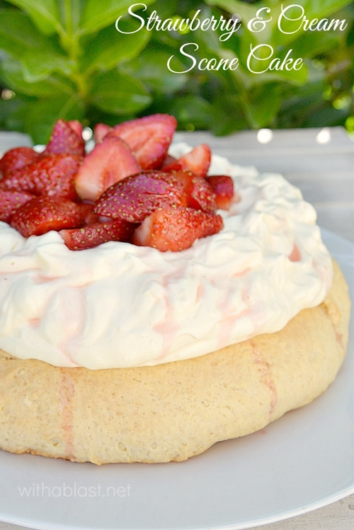 Strawberry and Cream Scone Cake