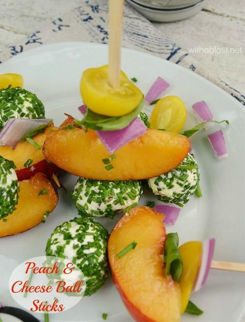 Peach and Cheese Ball Sticks