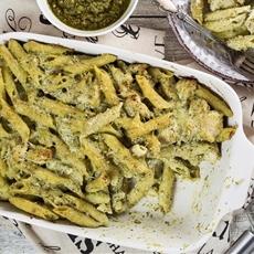Basil Pesto Chicken Pasta Bake