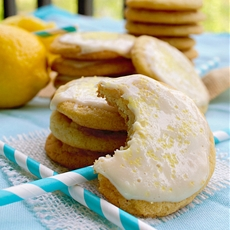 Lemon Cream Glazed Chewy Sugar Cookies