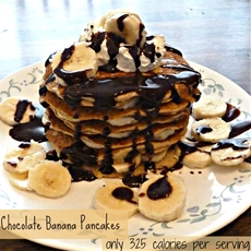 Chocolate banana oat pancakes
