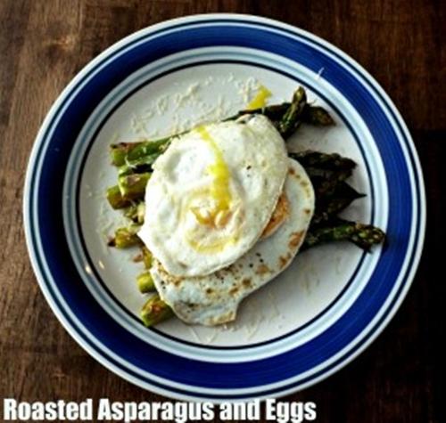 Roasted asparagus and eggs