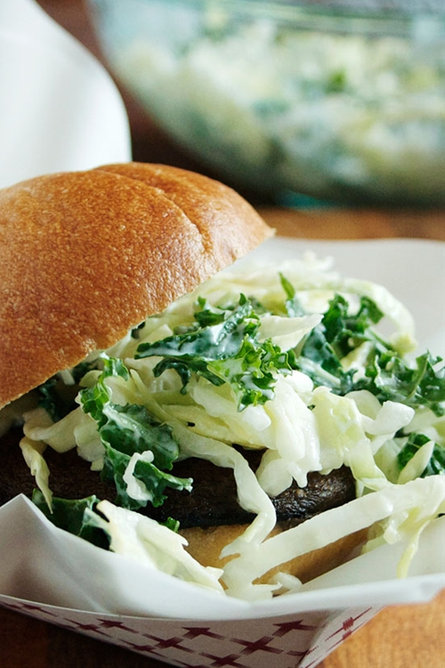 Cabbage and Kale Coleslaw with Greek Yogurt Dressing