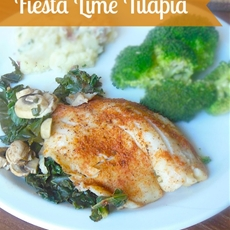 Fresh Fiesta Lime Tilapia with Mushrooms and Kale