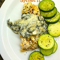Savory Baked Salmon with a Creamy Spinach Topping