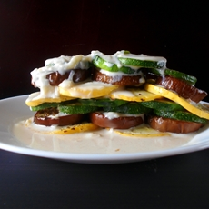 Ratatouille Stack With Soubise Sauce