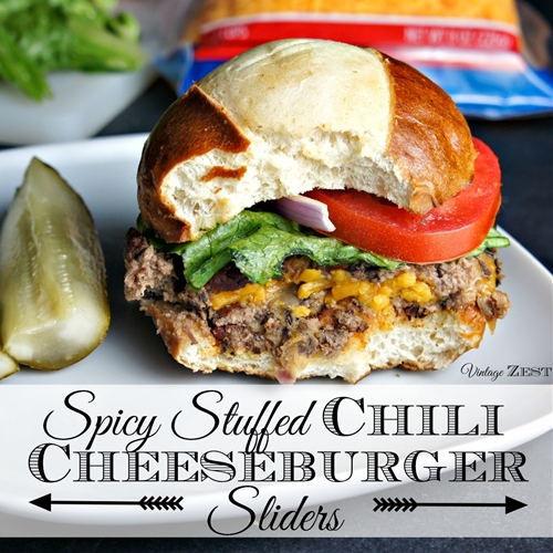 Spicy Stuffed Chili Cheeseburger Sliders