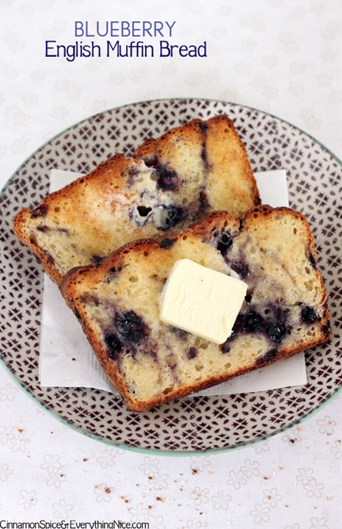 Blueberry English Muffin Toaster Bread