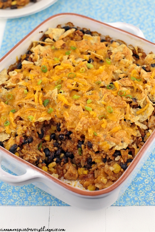 Chicken and Rice Enchilada Bake