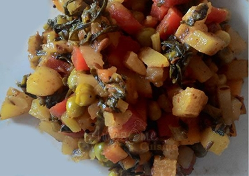Potato, Red Carrot, Peas and Radish Greens Dry Curry