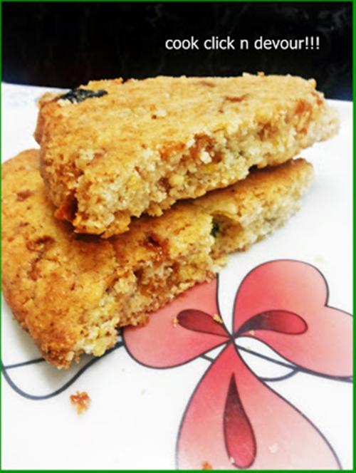 Cranberry-butterscotch scones (Egg-less)