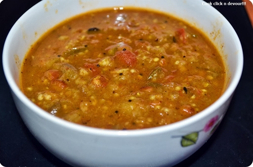 Kathrikai kothu/gothsu-Side dish for pongal/idly