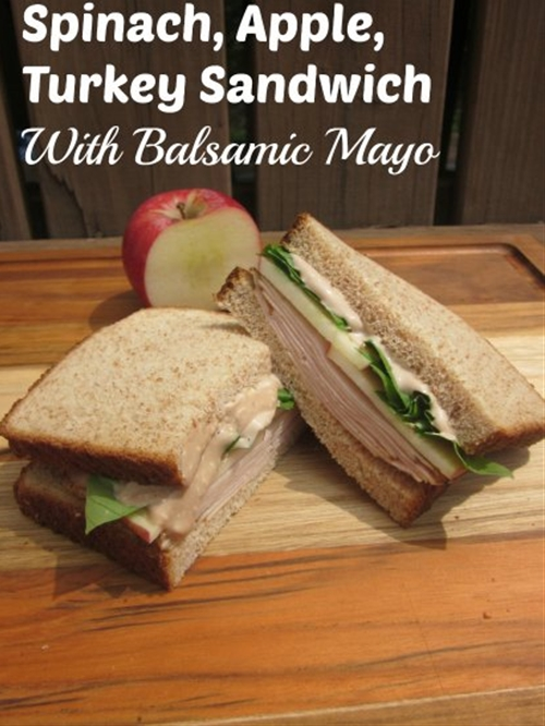 Spinach, apple, turkey sandwich with balsamic mayo