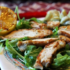 Grilled Chicken with Arugula and Zucchini Salad with Lemon