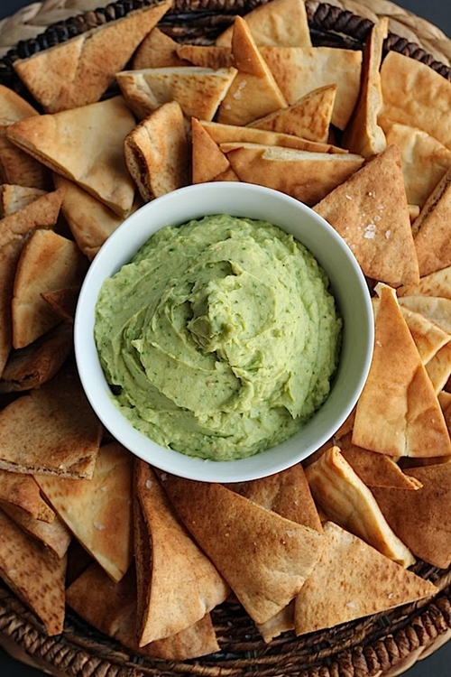 Avovado hummus dip with crispy sea salt pita chips