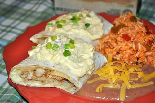 Southwestern Sour Cream Chicken Enchiladas